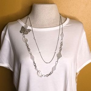 Silver Two Strand Butterfly Necklace